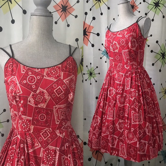 1950s Red Bandana Swing Dress