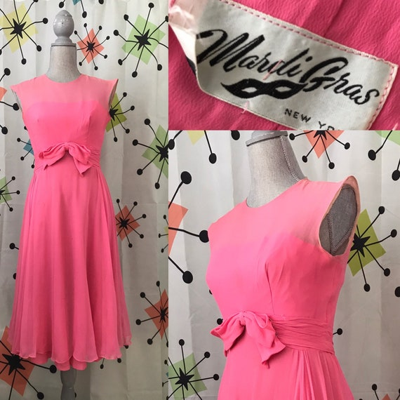 1960s Bubblegum Chiffon Dress by Mardi Gras