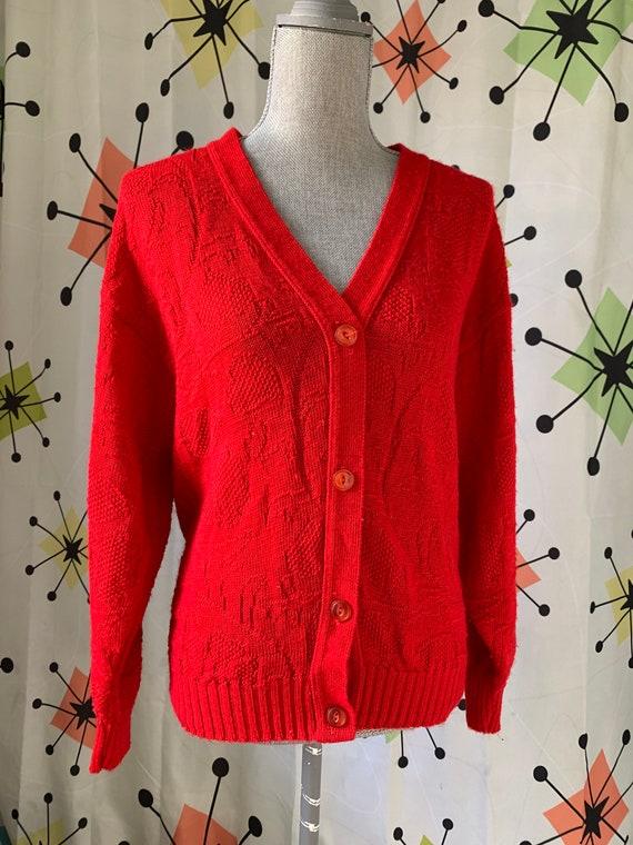 1960s Cherry Red Vintage Cardigan - image 8