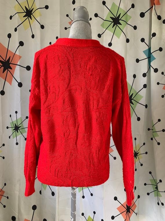 1960s Cherry Red Vintage Cardigan - image 4