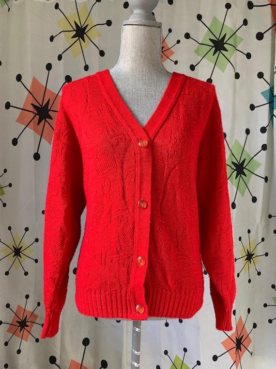 1960s Cherry Red Vintage Cardigan - image 3