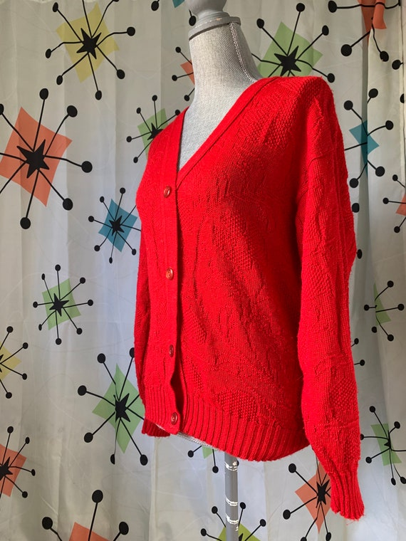 1960s Cherry Red Vintage Cardigan - image 5