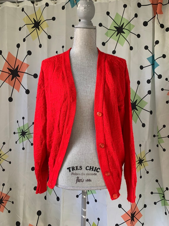 1960s Cherry Red Vintage Cardigan - image 7