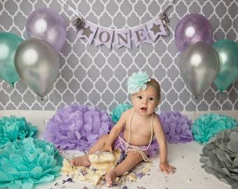 1st BIRTHDAY GIRL / Cake smash banner / 1st birthday banner / One year old birthday girl / First birthday girl / 1 year old birthday girl