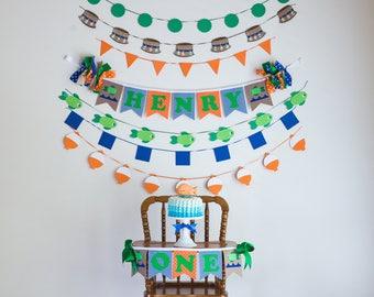 OFISHALLY ONE Birthday Highchair Highchair Banner Party Cake Smash Camping First Birthday Boy Happy Birthday Banner The Big ONE 1st Birthday