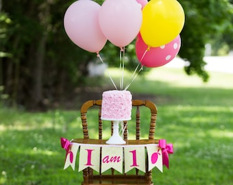 1st birthday banner / Pink lemonade birthday banner / First birthday girl / 1st birthday girl / Highchair banner / I am 1 / ONE banner
