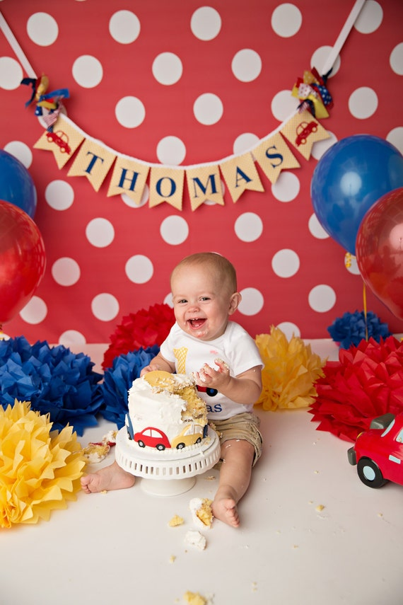 TRANSPORTATION BIRTHDAY BANNER First Birthday Boy 1st Banner Transportation Cake Smash 2nd