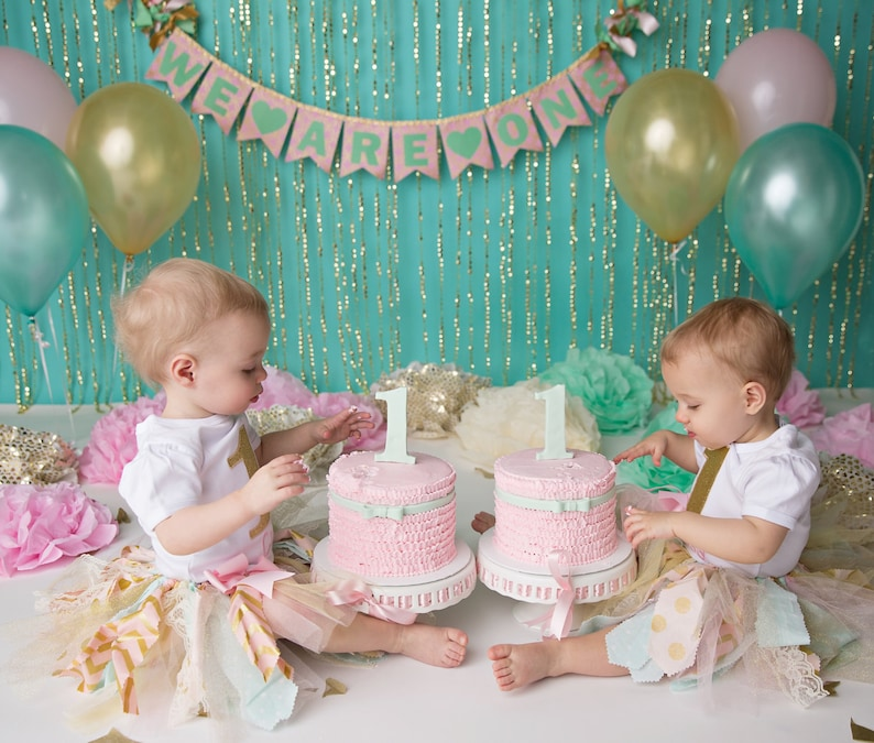 PINK GOLD 1st Birthday BANNER Twin Cake Smash