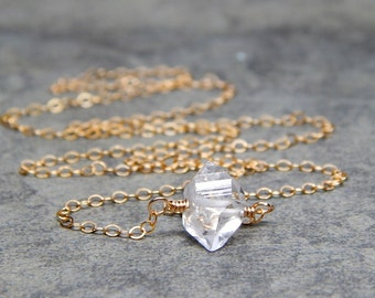 Herkimer diamond jewelry, gold herkimer diamond necklace, awesome gift idea