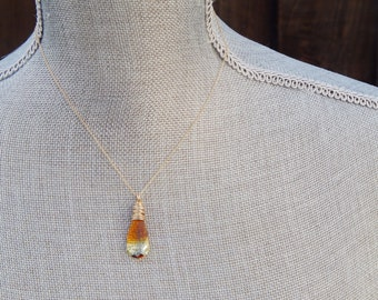 Gold jewelry gift, gold layer necklace, Gold Swarovski jewelry Necklace, Gold drop necklace
