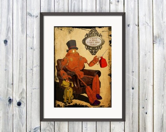 Gift for Dad, Steampunk Robot, Wall Art, Quote Print, Gift for Him, Gift from Family, Fathers Day Gift , From Son, Art Print, Love You