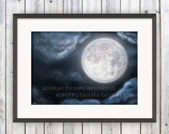 Sylvia Plath, Quote Print, If the Moon Smiled, Gift For Her, Art Print, Literary Poster, Book Lover Gift, Full Moon Print, Ariel Print, Emo