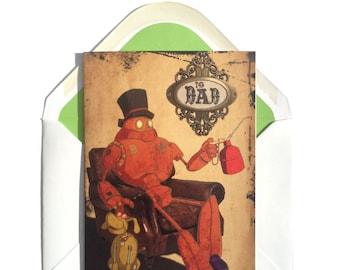 Steampunk Card, Dad Birthday, Happy Birthday, Dieselpunk Card, For Dad, Fathers Day Card, Father Birthday Card, Robot Birthday Card, Old Man