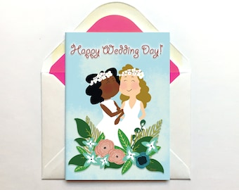 Custom Wedding Card, Anniversary Card, Personalised Card, Interracial Card, Same Sex Card, Happy Wedding Card, Happy Anniversary, Cartoon