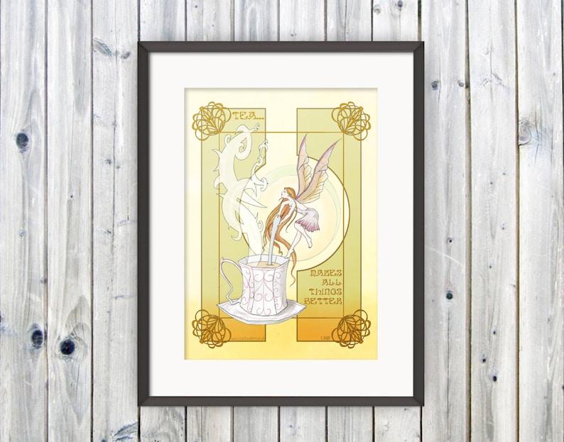 Tea Fairy Print Wall Art Fairy Poster Art Deco Print Home image 0