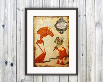 Gift for Mom, Steampunk Robot, Wall Art, Quote Print, Gift for her, Gift from Family, Mothers Day Gift , From Daughter, Art Print, Love You