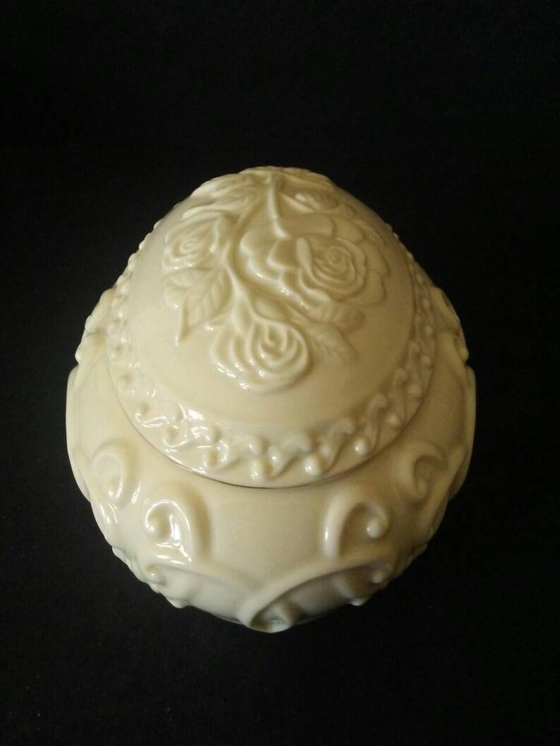 Lenox China Rose Embossed Easter Egg Music Box