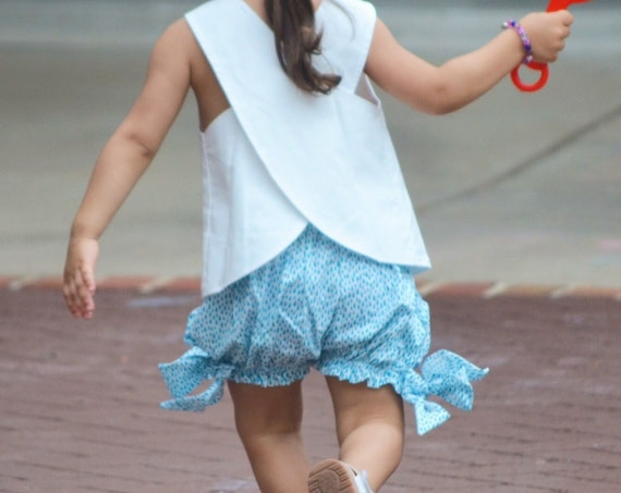 Girl's Big Bow Bloomers- Organic Cotton Clothing - Water Motif Clothes  - Eco Conscious Kids Clothing- Minimal style - Bloomers for Kids