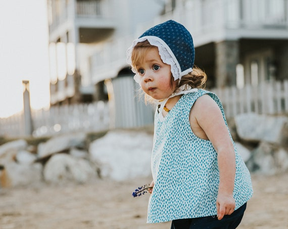 Girls Cross back Top in White - Organic Kids Clothing - Minimal Kids Clothes - Water Motif - Girl's Overall Shirt