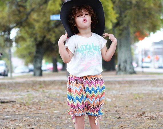 Girls Shorts - Kids Bloomers - Childs Diaper Cover - Organic Cotton Kids - Girls Boho Pant - Colorful Kids Clothes - Girls Big Bow