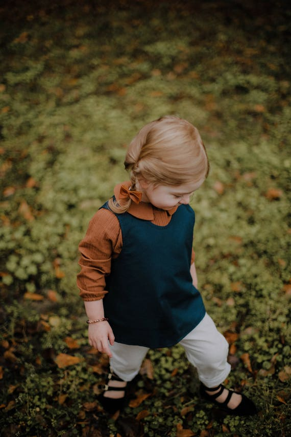 Blue Cross back Shirt - Organic Kids Clothing - Minimal Kids Clothes - Blue Cotton Girls Shirt - Overall Shirt