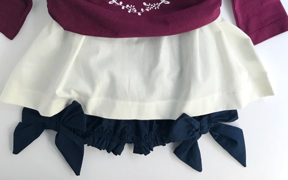 Girl's Big Bow Bloomers- Organic Cotton Clothing - Minimal Fashion - Eco Conscious Kids Clothing- Minimal style - Blue Bloomers for Kids