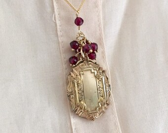 Vintage Locket, Ornately Shaped, Garnet Cluster Chain, Gold Filled, Gift for Her, Push Present, One of a Kind