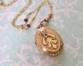 SALE Antique Victorian Locket, Large Oval Locket with Garnet Chain, Wedding Locket, Gift for Her, Romantic Gift