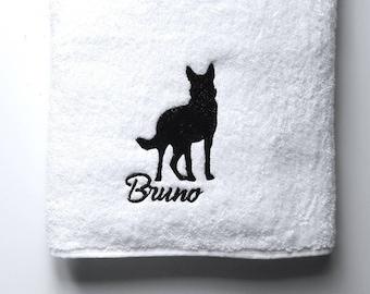 German Shepherd Towel / Personalized Towel / Monogrammed Towel / Hand Towel / Bath Towels / Embroidered Towel