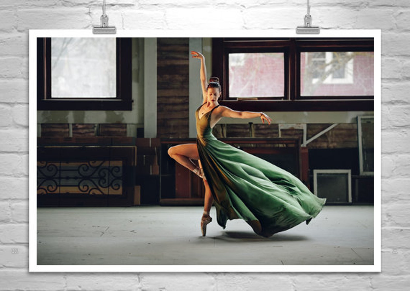 ballet art girls room, green dress picture, ballet idaho ballerina, dancer dance poster, pointe shoe on point decor