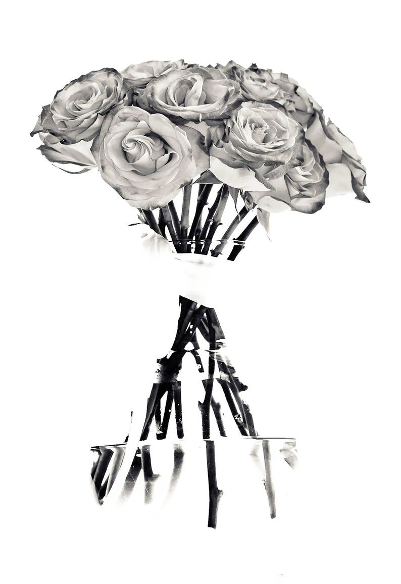 Black White Roses Goth Edgy Abstract Gritty Glowing Stems Vase Etsy