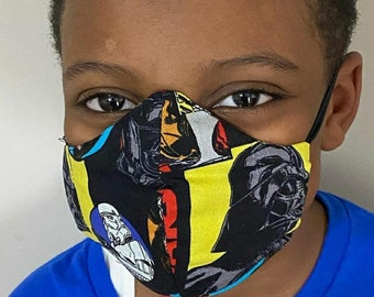 Children's Washable face mask with sewn in filter. Youth sizes Free shipping