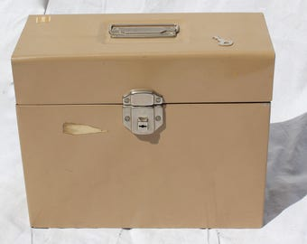 Vintage Portable Metal File Box With KEY Metal Storage Box Letter file Porta File Industrial Storage