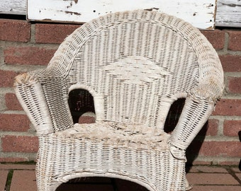 Antique Vintage White Wicker Chair Childs Antique Wicker Chair Shabby Chic  Decor Photo Prop Doll Display
