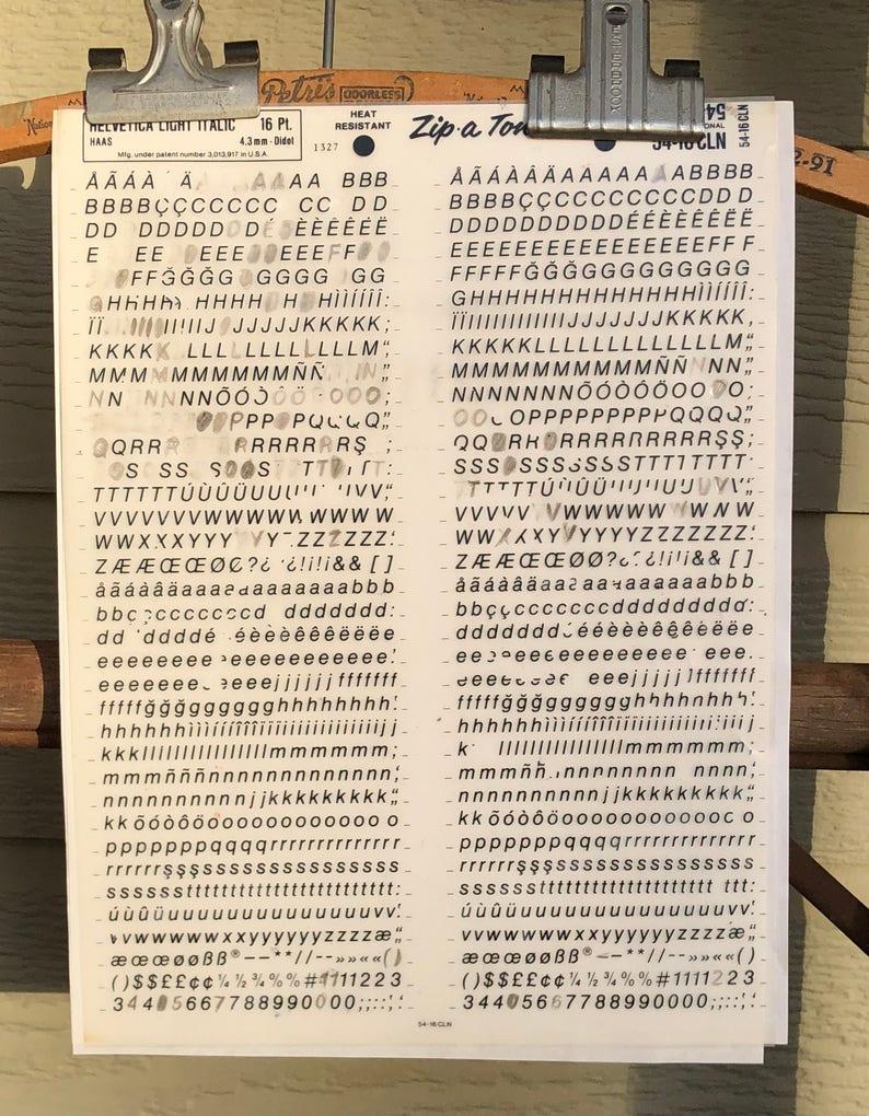Vintage Helvetica Light Italic 16 pt  Zip A Tone Dry Transfer Lettering  Alphabet Sheet Number Sheet