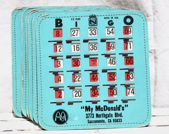 Blue Bingo Card / Vintage Game / Slide Window Style Card / Made in the USA / Craft Supply / Multiple Available