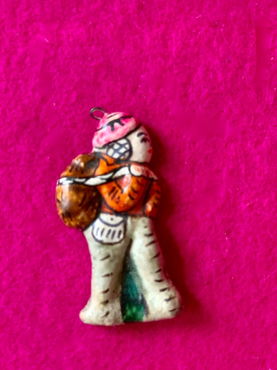 Vintage Handmade Clay Charm, Pendant, Necklace Bac