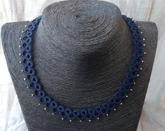 Navy blue tatted necklace , frivolite , blue necklace , lace necklace , tatted jewelry , gift for woman