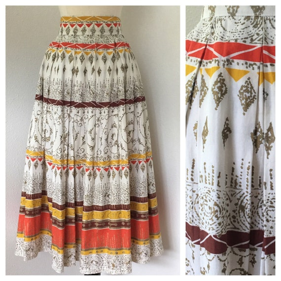 Vintage 1950s Summer Cotton Skirt Novelty Print