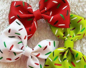 Christmas Hair Bow, Christmas Gift Set, Hand Painted Bows, Holiday hair clips, Kawaii hair Bow, kids stocking stuffer, Christmas Party Bows