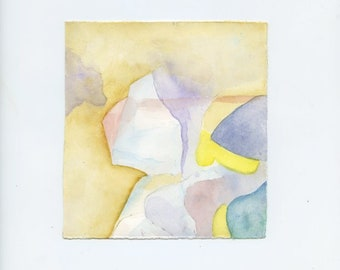 Small original watercolor painting with soft shades of color.  i206  FREE SHIPPING