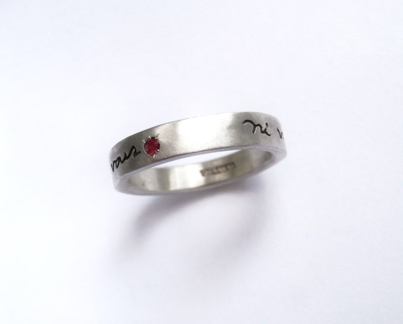 Thin Ni Vous Sans Moi French Poetry Ring Sterling Silver with Ruby