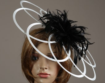 White & Black Satin Saucer Loops Fascinator Hatinator Perfect for the Kentucky Derby or Aintree, Ascot