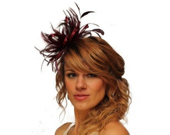 Burgundy wine  Feather Fascinator Hat - wedding, ladies day - choose any colour feathers & satin