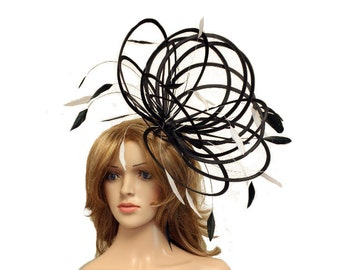 Black and White Large Feather Fascinator Hat - Perfect for a Mother of The  Bride 3e7678ac421