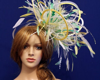 416d1657 Large White and Yellow 2 Loop colour Diamante Feather Fascinator Hat -  wedding, ladies day - choose any colour feathers & satin