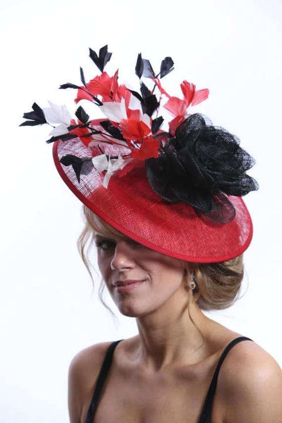 Red Black   White Saucer Fascinator Hatinator Feathers Hat  1e27704e1c6