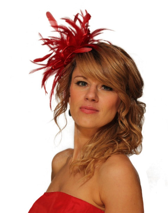 Gold /& Red Fascinator Hat//choose any satin//highlight feather colour