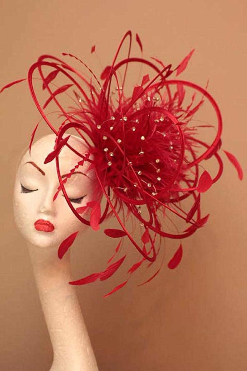 3d1382b2 Large Red Diamante Feather Fascinator Hat wedding ladies | Etsy