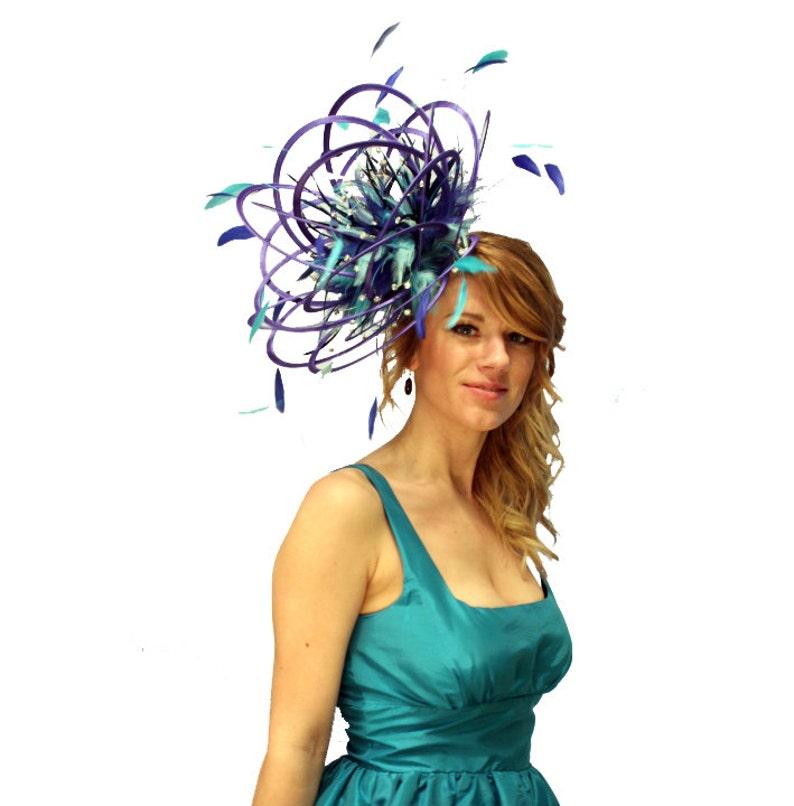 choose any colour feathers /& satin wedding Large Royal ladies day Turquoise and Aqua Blue Rhinestone Diamante Feather Fascinator Hat